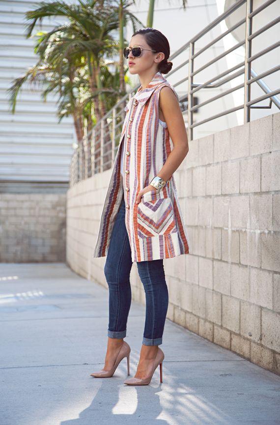 Multi Colored Striped Sleeveless Coat