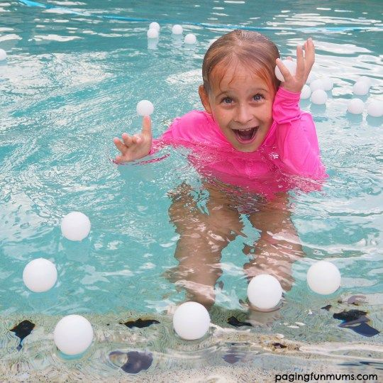 Ping Pong Ball make for instant FUN in the pool! Maybe sink a treasure chest in pool filled with these 'pearls' and have kids 'unlock' to release them.