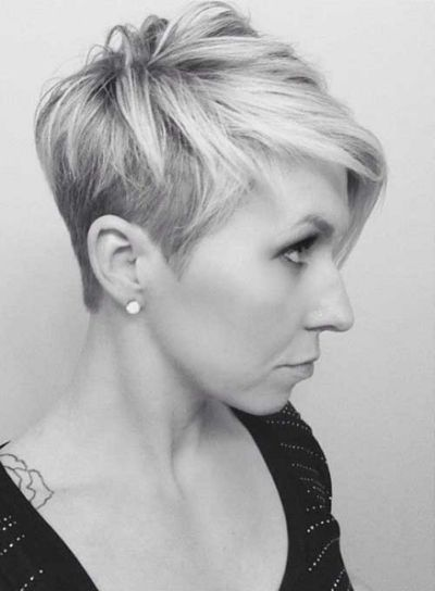New Asymmetrical Pixie Cuts Silver Hair Short