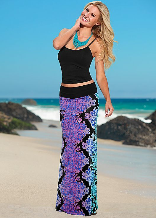 Teal Multi print maxi skirt from VENUS. Available in sizes XS-XL!