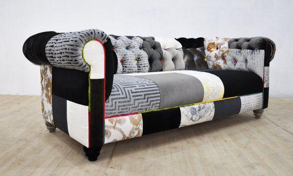 Articles Similaires A Reserve Pour Louise Canape De Patchwork Chesterfield Noir Blanc Sur Etsy Fauteuil Art Deco Chaise En Patchwork Canape Angle