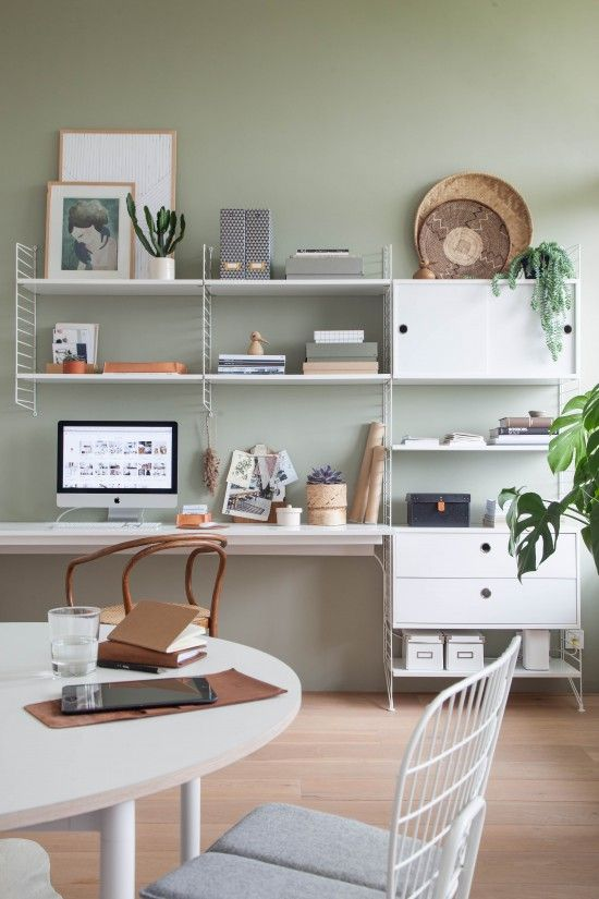 Sage green is the perfect color for your home office because it allows you to relax and work more efficiently.
