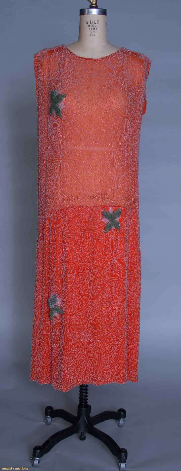 Augusta Auctions, March 30, 2011 - St. Pauls, Lot 368: Crystal Beaded Orange Party Dress, Mid 1920s