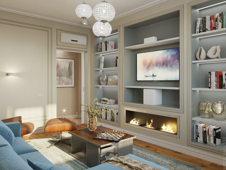 Роль ТВ-стенки выполняют стенные ниши для книг и сувениров. Встроенный биокамин.