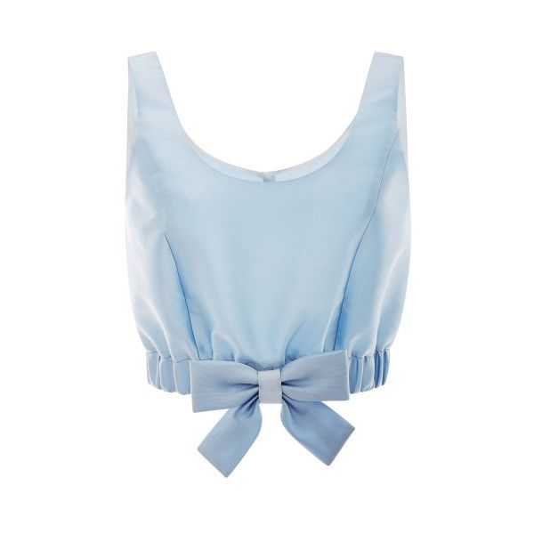Honor Light Blue Mikado Ribbon Hem Cropped Top ($695) ❤ liked on Polyvore featuring tops, shirts, crop tops, blue, tank tops, light blue, bow top, ribbon shirt, bow shirt and blue crop top