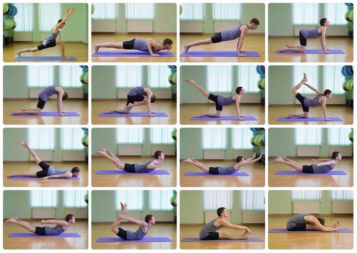 Комплекс упражнений, направленный на укрепление мышц спины и улучшение подвижности позвоночника.  Добавляйте себе на стену и повторяйте!  Рекомендации по выполнению:  Упражнения 1,2,3 добавьте в ваш Сурья Намаскар; Упражнения 4,5 (прогибы и округление спины в кошке) выполните не спеша 5-6 повторений. Упражнения 6,7 (движение в кошке с одной ногой) также выполните несколько повторений. Выполните захват за ногу (упр.8) и потянитесь вверх. Отдохните. Затем повторите упр. 6,7,8 на другую ногу…