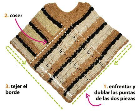 Cómo tejer un poncho de dos rectángulos a crochet