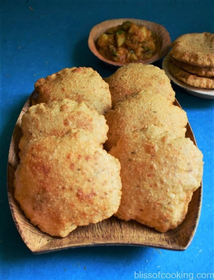 Bedmi Puri (spiced whole wheat Indian puffed bread)
