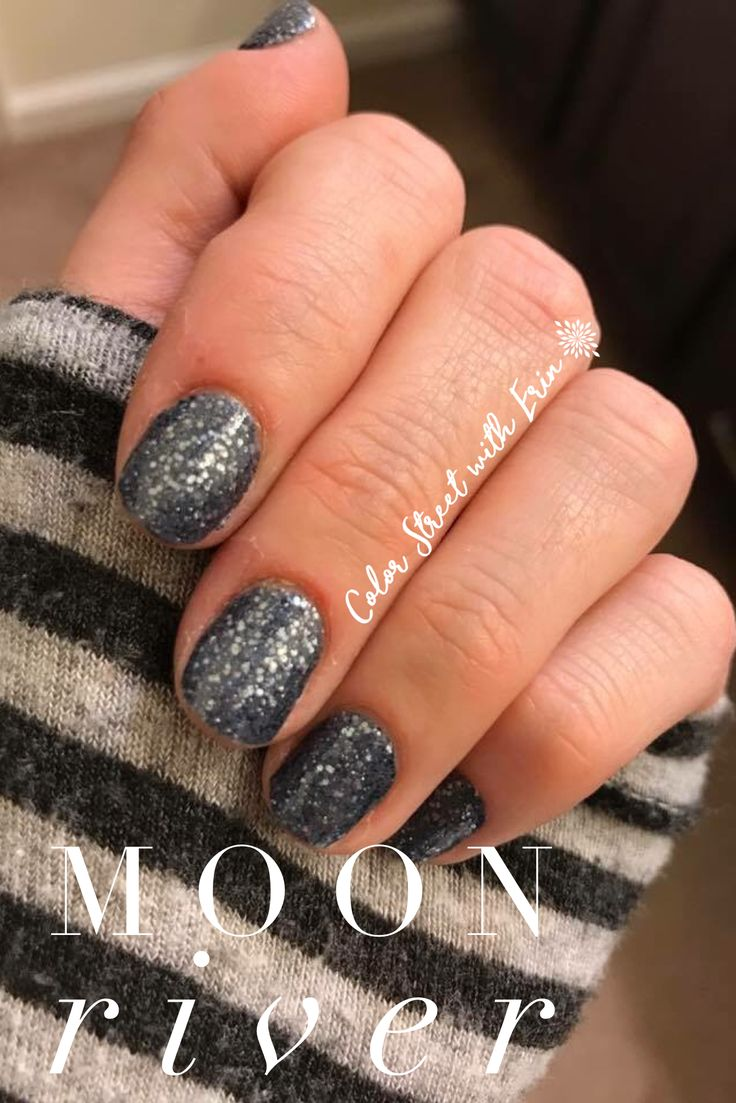 Color Street Moon River glitter nail polish strips