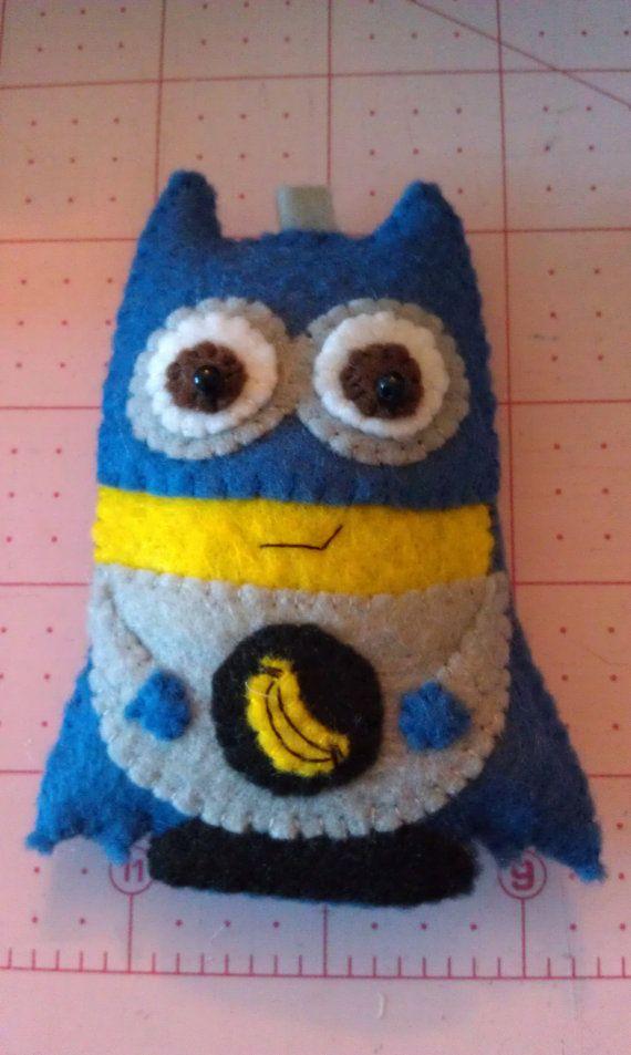 Handmade felt applique Batman inspired Minion by cheshirecat22, $13.00