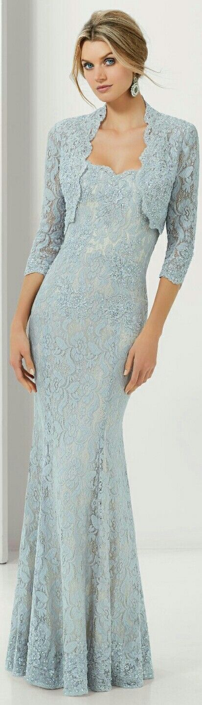 Mori Lee | VM | Ice Blue Long Lace Elegant Evening Gown w. Dainty Lace Evening Jacket to Go w. Ensemble. | #71117