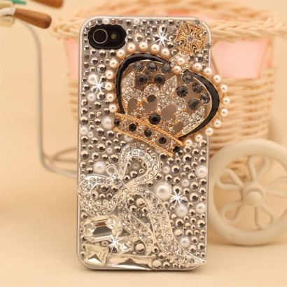 New Luxury Rhinestone Pearl Crown with Bowknot Hand Made Hard Case for iPhone 4/4s