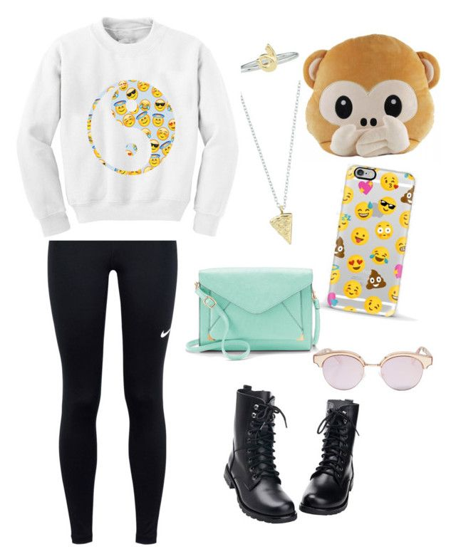 """Emoji☺️"" by imelanson2003 ❤ liked on Polyvore featuring Rock 'N Rose, NIKE, Chicnova Fashion, Casetify, Apt. 9 and Le Specs"