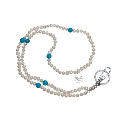 ID Badge Holder White Pearl, Turquoise Stones