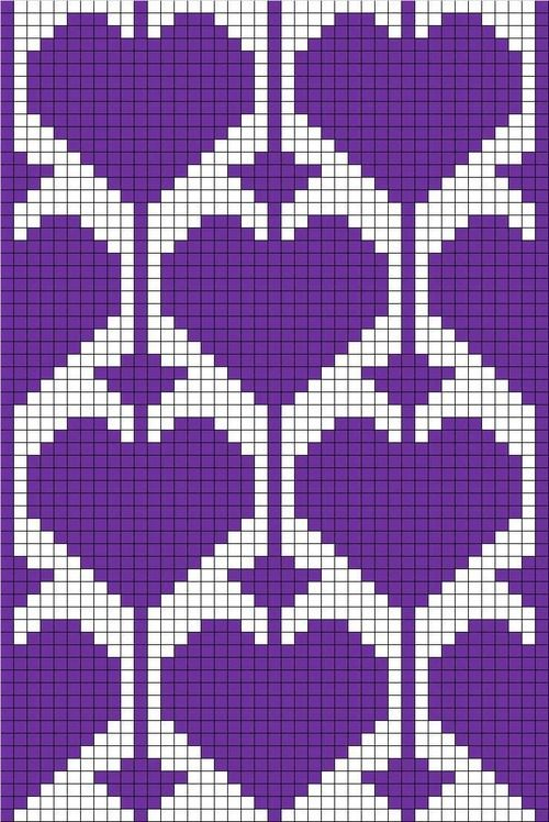 Perler bead pattern or use for filet crochet or tapestry with heart motif