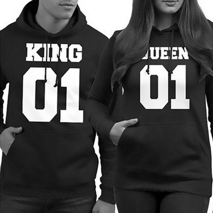Hot Kaus Hoodies Harajuku Mode Cetak Raja dan Ratu Pecinta Pasangan Kaus Untuk Musim Gugur Pria dan Wanita Baju Olahraga
