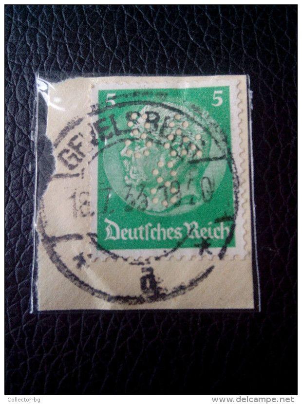 RARE 5 PF DEUTSCHEN REICH Reichspresidents  Paul Von Hindenburg German Stamp 1933 PERFIN ON PAPER COVER USED - Germany
