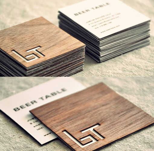 "A lower case ""b"" and an uppercase ""T"" serve as a bench and table in the logo for this high-end pub in Brooklyn, whilst the 2ply oak wood card alludes to the warm interior and wooden benches that no doubt fill the interior... and lastly it also doubles as a beer coaster?"