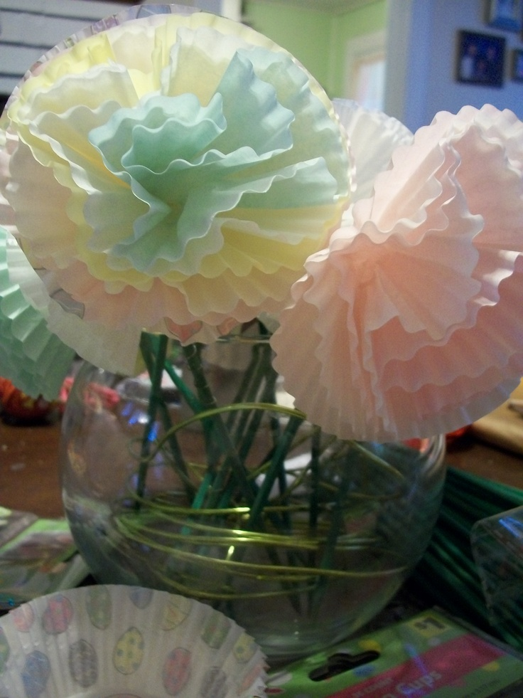 Baking Cup Flowers for Easter