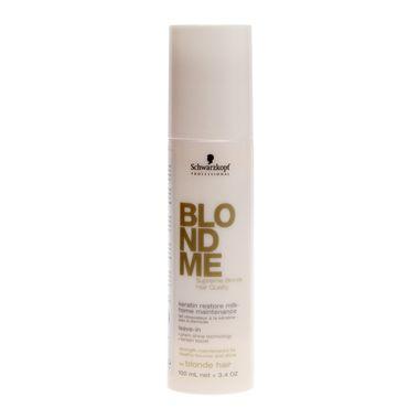 Schwarzkopf Blondme Keratin Restore Leave-in é um produto de manutenção que fornece queratinas para reparar os cabelos debilitados devido à descoloração ou clareamentos. Revitaliza o brilho, deixa o cabelo com aspecto saudável e com maior elasticidade.