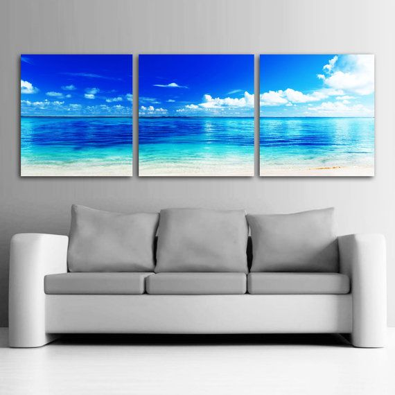 Large 20 x 60 3 panels art canvas print beach ocean wall for Large panel wall art