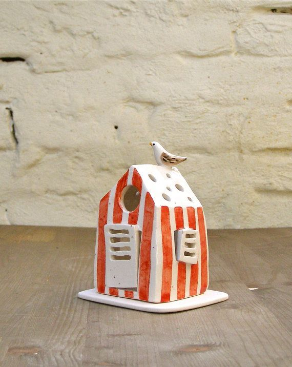 handmade ceramic bathing cabin candle holder/bathing cabin red stripes with a bird/home decor/nautical style