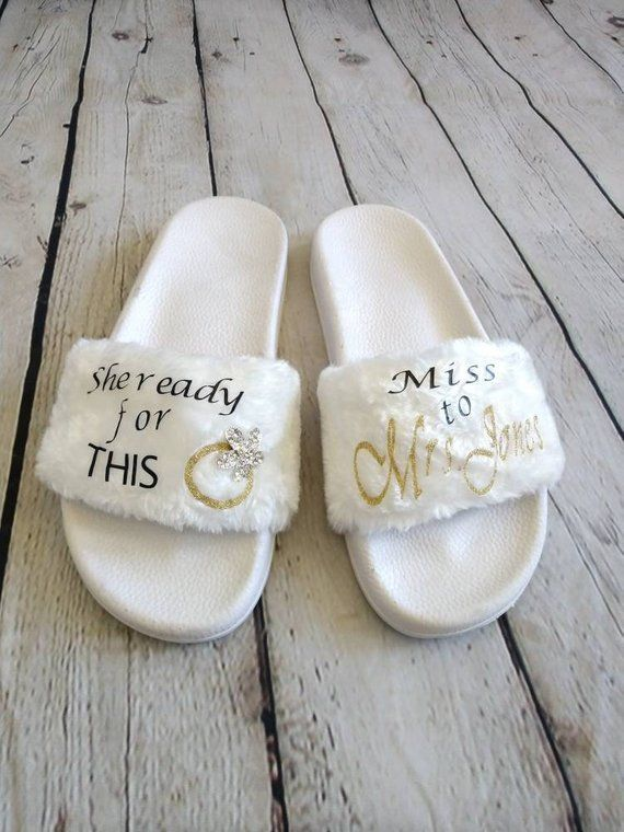 Wedding Slippers Bride Maid of Honor   Bridal Shower Flat Shoes