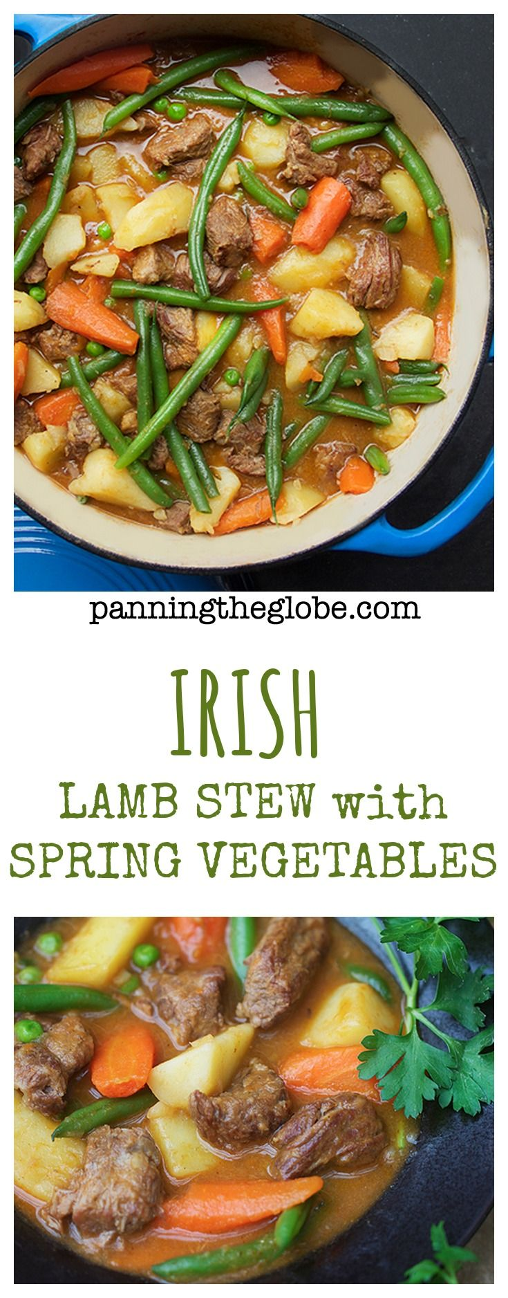 Lamb Stew with Spring Vegetables. Tender lamb and fresh vegetables. A delicious, healthy one-pot wonder. #StPatricksDay #Recipe