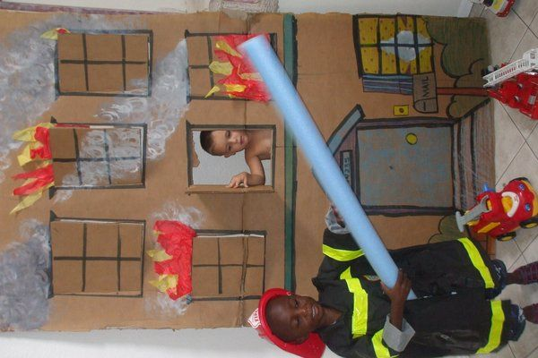Fun idea for fire fighting in dramatic play.  View early education resources at www.thefamilyconservancy.org  ~Shari at TFC