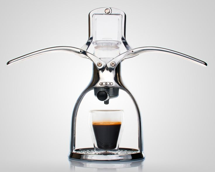 Non-Electric ROK Espresso Is Environmentally Friendly.  ROK has released a manual espresso maker for the energy conscious. The machine features two polished, high-quality aluminum arms that when lowered trap air to force water through the coffee grounds.  Image:  GadgetReview.com