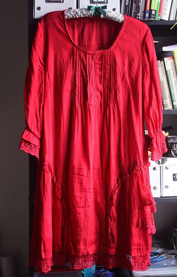 Woman's Tunic dress ruffles laces deep red by GreenHouseGallery