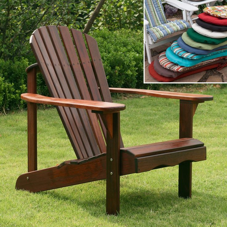Outdoor Belham Living Richmond Curveback Shorea Deluxe Adirondack Chair  With Optional Cushion   RM079