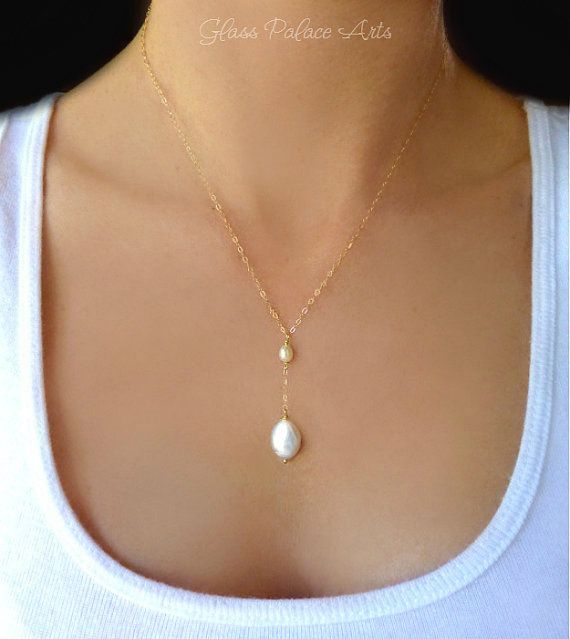 Beaded Freshwater Pearl Necklace - Dainty Pearl Teardrop Necklace - Bridal Pearl Jewelry - Simple Beaded Dangle Necklace - Bridesmaid  Gift