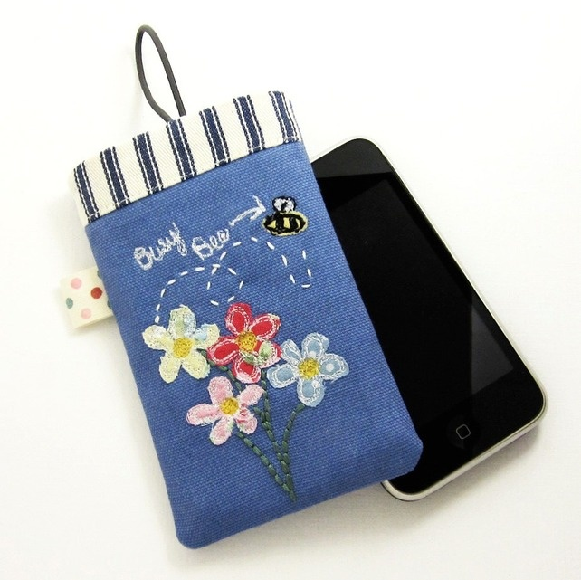 Mobile Phone Cover iPhone 4 iPhone 3 Blue Linen with Applique Flowers £11.50