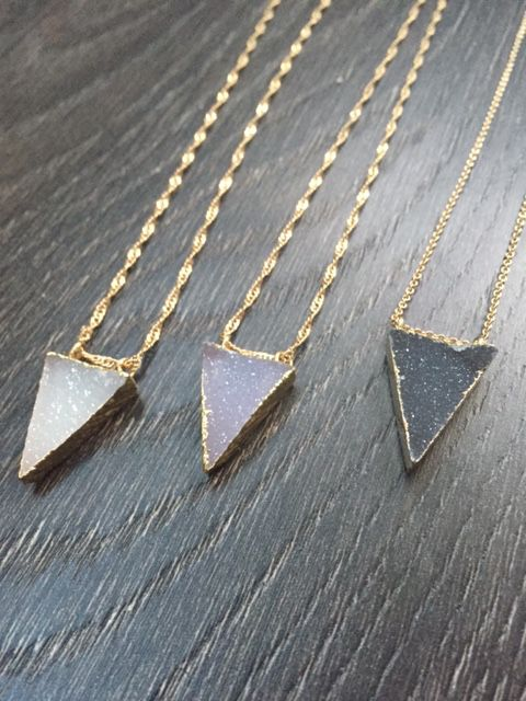 Kat Made Jewelry Druzy Agate Triangle Necklace - 3 Shades available $45.00