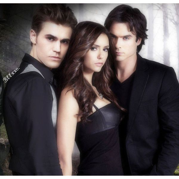 Vampire Diaries Stefan,elena, and damon. ❤ liked on Polyvore
