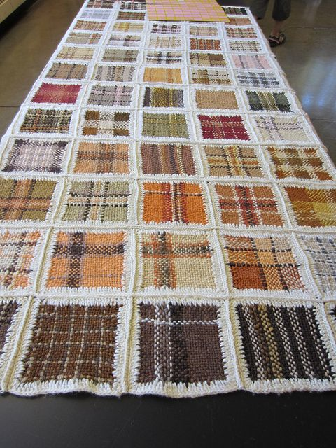 Woven squares - Sample Quilt with Mushroom Dyed Yarns