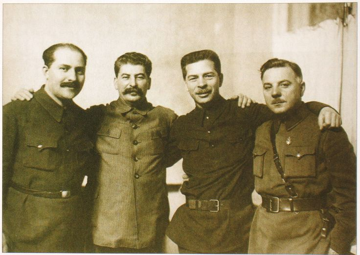 Lazar Kaganovich, Joseph Stalin, Pavel Postyshev and Kliment Voroshilov in january, 1934.