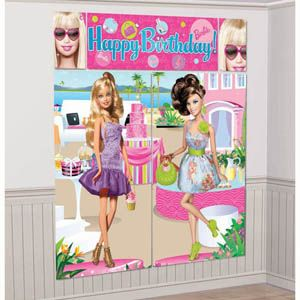 A679680 - Barbie Scene Setter Kit. Scene Setter Kit Barbie Birthday (2 x 82.5cm x 149cm, 1 x 113cm x 40.6cm, 2 x 26cm x 40.6cm) Combine to make a Giant Decoration. Please note: approx. 14 day delivery time.