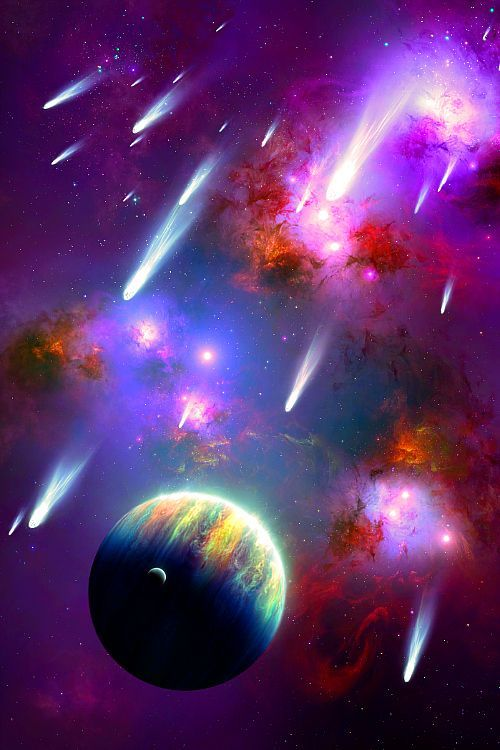 shooting stars, space, colorful, planets