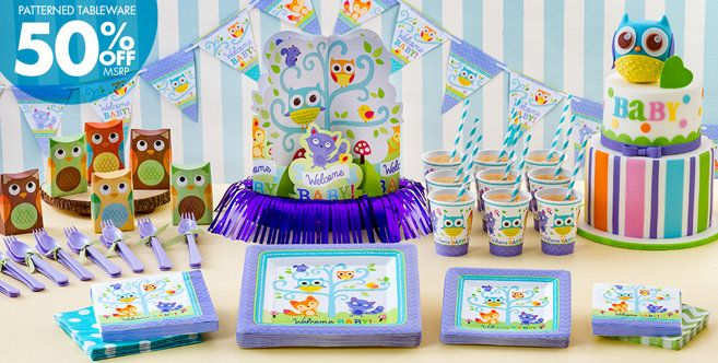 Welcome baby party supplies woodland party city site for Baby welcome party decoration ideas