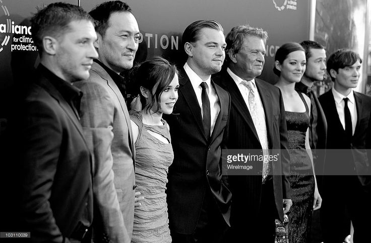 Image has been converted to black and white.) Actor Tom Hardy, director Christopher Nolan, actors Ken Watanabe, Ellen Page, Leonardo DiCaprio, Marion Cotillard, Joseph Gordon-Levitt, Cillian Murphy and Tom Berenger attends the 'Inception' Los Angeles Premiere at Grauman's Chinese Theatre on July 13, 2010 in Hollywood, California.