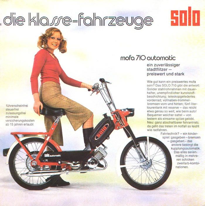 1974 solo 710 girl w red and black moped moped girls. Black Bedroom Furniture Sets. Home Design Ideas