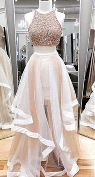 Long A-Line Sequins Tiers Tulle Prom Dresses 2017