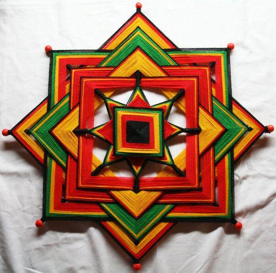 Large Rasta Colours Mandala God's Eye by PsyMagic on Etsy, €80.00