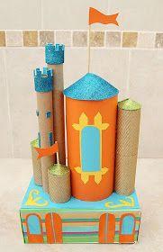 brinquedo reciclado castelo feito com rolinhos de papel higiênico