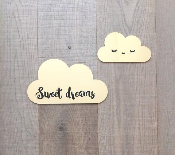 Décoration murale nuage, décor de mur de pépinière, doux rêves pépinière décor, kids room Decor en miroir or