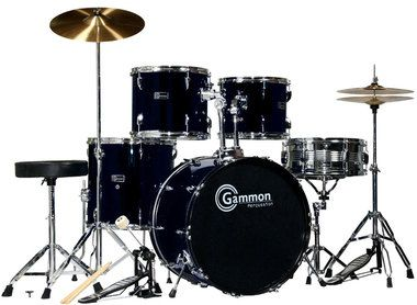SR Series Black Drum Set for Sale with Cymbals Hardware and Stool New Gammon 5-Piece Kit Full Size