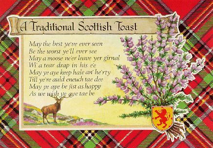 Vintage postcard with a Scottish toast.