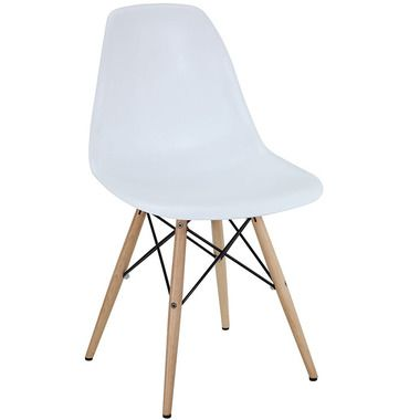 Pyramid Dining Side Chair Wood Base Accent Chair in White